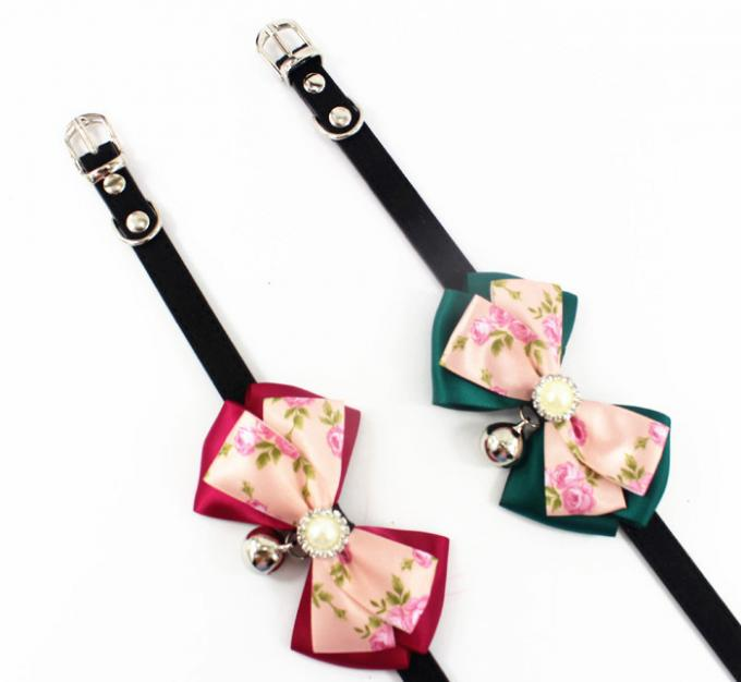 Cute Lace Bowtie with Bell Dog Collars Leather Pet Leads